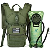 SHARKMOUTH Tactical MOLLE Hydration Pack Backpack 900D with 2L Leak-Proof Water Bladder, Keep Liquids Cool for Up to 4 Hours, Outdoor Daypack for Cycling, Hiking, Running, USA Flag Patch,Green