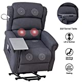 Mecor Lift Chair Recliner for Elderly,Power Lift Recliner w/Table&Light,Fabric Massage Recliner Chair with Heat/Side Pockets/USB Charge Port for Living Room (Grey)