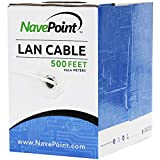 NavePoint Cat6 (CCA), 500ft, White, Solid Bulk Ethernet Cable, 550MHz, 23AWG 4 Pair, Unshielded Twisted Pair (UTP)