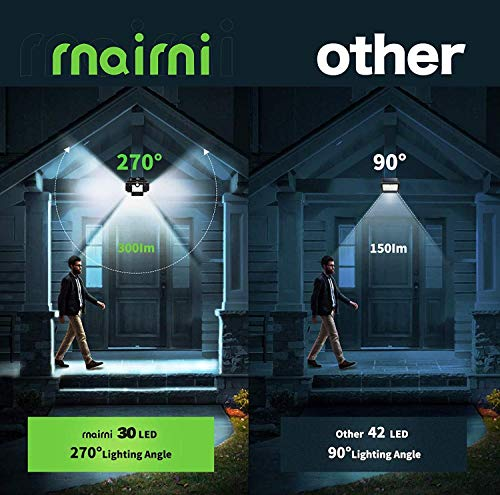 Zartk 30 Luces LED de luz Solar para Exteriores, lámpara IP65 a Prueba de Agua con Sensor de Movimiento Giratorio de 270 Grados, luz de Auto Brillante Lámpara (Size : 2 Pack)