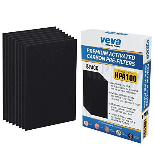 Precut for HPA100 Premium Carbon Activated Pre Filters 8 Pack compatible with HW Air Purifier Models 090, 094, 100, 104, 105, HA106. Precision Fit for Easy Installation by Veva Advanced Filters