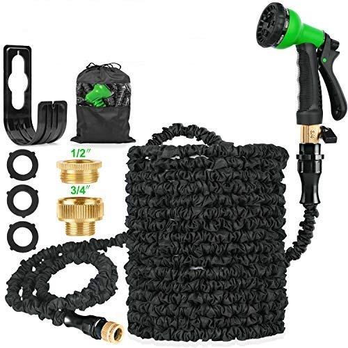 HOSE-PRO 100 FT Expandable Garden Water Hose Pipe, Magic Expanding Flexible Hose with 8 Function Spray Gun Nozzle Fittings Valve Wall Holder/Storage Bag for Lawn/Pet/Car/Boat Wash (Black)