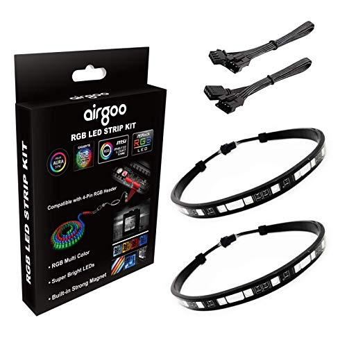 PC RGB LED Strip Light, Black Silicone Housing Magnetic PC Case Lighting, 2PCS Strips 42LEDs for 12V 4-Pin RGB LED Header, for ASUS Aura RGB, MSI Mystic Light, ASROCK Aura RGB, Gigabyte RGB Funsion