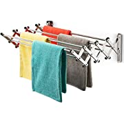 Bartnelli Accordion Wall Mounted Drying Rack   8 Smooth Round Stainless Steel Rods   Huge 22 Linear Feet Capacity   Compact Sleek Design    60lb Capacity (60 lb Capacity)