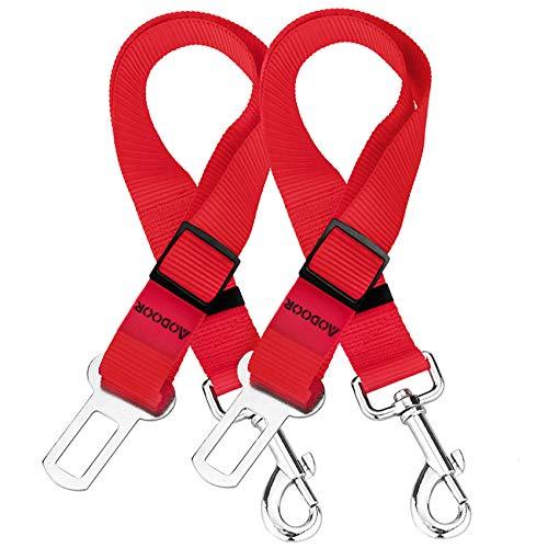 AODOOR Cinturón de Seguridad para Perros, 2 Piezas Perros Correa Seguridad, Universal Ajustable Nylon Cinturon Perro Coche, Duradero Cinturón de Seguridad de Coche para Perros Gato Mascotas - Rojo