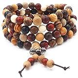 108 Perles en bois naturel Bracelet Bouddha Tibétain Bouddha Prière Méditation Prière Élastique Mala Coloré Bracelet/Collier pour Homme Femme