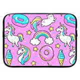 Cute Unicorn Kawaii for Girls 13-15 Inch Laptop Sleeve Bag Portable Dual Zipper Case Cover Pouch Holder Pocket Tablet Bag,Water Resistant,Black
