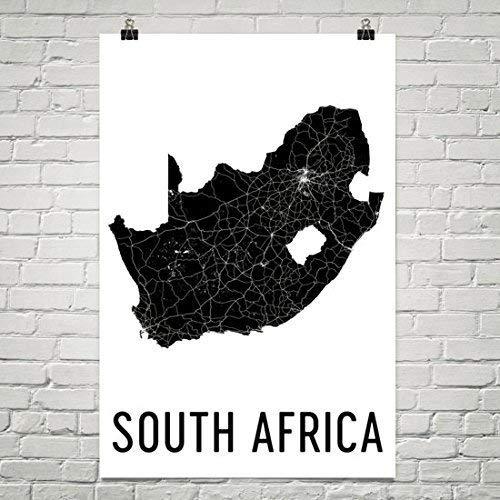 Modern Map Art Zuid-Afrika Kaart, Zuid-Afrika Art, Kaart van Zuid-Afrika, Zuid-Afrikaanse Decor, Zuid-Afrikaanse Gift, Zuid-Afrika Print, Zuid-Afrika Poster