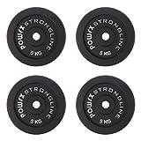 POWRX Discos hierro fundido 20 kg set (4 x 5 kg) - Pesas ideales para mancuernas y barras con diámetro 30 mm + PDF workout (Negro)