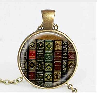 Library Book Case Necklace Vintage Style Gift for Students Teachers and Librarians Necklace Old Books Necklace Hot Selling