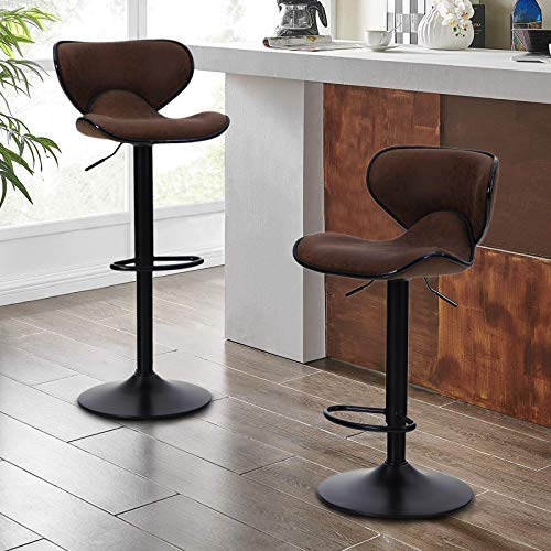 Sophia & William Counter Height Bar Stool Set of 2 Adjustable Swivel Barstools PU Leather Kitchen Counter Bar Chairs Supports 350lbs for Bar Kitchen Indoor Brown