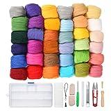 Jeteven Lana de Fieltro 36 Colores Lana DIY con Aguja de Fibra Mano Hilado Artesanía de Bricolaje (36 Colores)