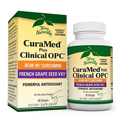 Terry Naturally CuraMed Plus Clinical OPC - 60 Softgels - BCM-95 Curcumin & French Grape Seed VX1 Supplement - Supports Brain, Heart, Colon, Breast, Prostate & Liver Health - Non-GMO - 30 Servings
