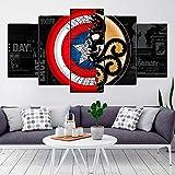 VKEXVDR 5 Paneles Pintura de la Lona Mural Capitán Escudo Arte Fotos Paisaje Imprimir Decoración Moderna del Ministerio del Interior Sin Marco 200 * 100cm