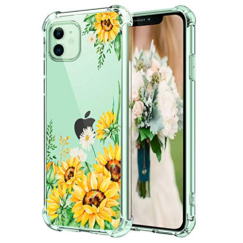 "Hepix iPhone 11 Cases Sunflowers Clear Flower iPhone 11 Cases, Flexible Soft TPU Protective iPhone Cover with 4 Reinforced Bumpers Anti-Scratch Camera Protection for iPhone 11 (6.1"") 2019"