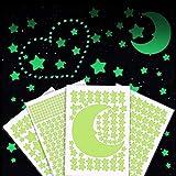 515 Pz Stelle Fluorescenti Adesive Soffitto - Luna, Stelle e Quadrati Adesivi Muro, Adesivi Murali Camera da Letto, Adesivi Fluorescenti per Cameretta per Cielo Stellato, Stelline Fluorescenti Adesive