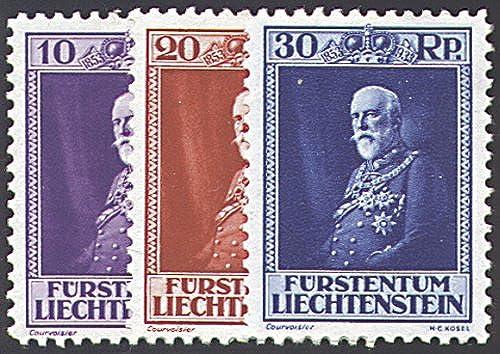 Goldhahn Liechtenstein Nr. 122-124  Fürst Franz I. Briefmarken für Sammler