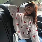 WDDYYBF Suéter para Mujer,Fashion Lady Otoño Manga Completa Mujeres Punto Suéter Impresión Amor Casual O-Cuello Pullover Loose Sweater Mujeres Elegante Jerseys Trajes De Punto, Blanco, Un Tamaño