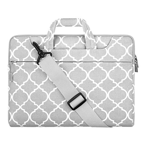 MOSISO Laptoptasche Kompatibel mit 2019 MacBook Pro 16 Zoll Touch Bar A2141, 15-15,6 Zoll MacBook Pro Retina, Notebook, Canvas Geometrisch Muster Aktentasche Sleeve Hülle, Grau Quatrefoil