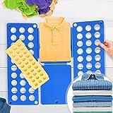 Grande Doblador de Ropa Juego de 2 - en Azul (L/H: 70/59cm) y Amarillo (L/H: 50/40cm) - Tablero para Plegar Camisas, Folding Board, Clothes Folder - para Camisetas, Camisas, Jerseys, Toallas