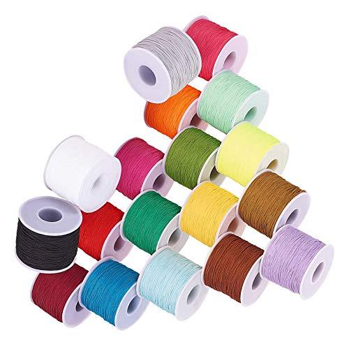 RENSHENKTO 18 colores cordón de poliéster redondo rebordear hilo de hilo anudado