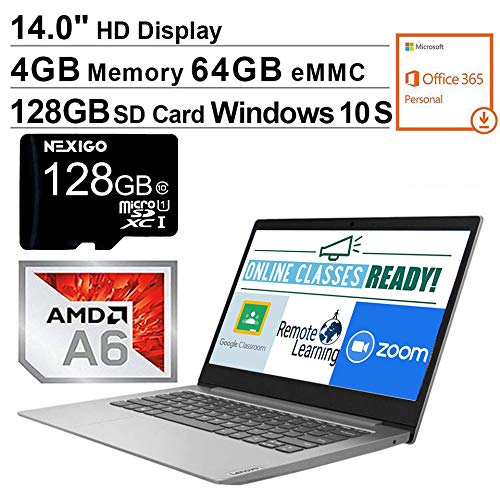 2020 Lenovo IdeaPad 14 Inch Laptop| AMD A6-9220e up to 2.4 GHz| 4GB RAM| 64GB eMMC| WiFi| Windows 10 S (1 Year Office 365 Personal Included) + NexiGo 128GB SD Card Bundle