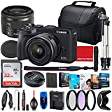Canon EOS M6 Mark II Mirrorless Camera with 15-45mm STM Lens (Black) Bundle + Premium Accessory Bundle Including 32GB Memory, Filters, Photo/Video Software Package, Shoulder Bag & More