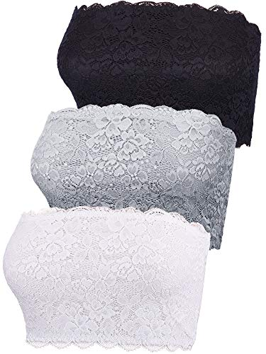Boao 3 Pieces Women's Floral Lace Tube Top Bra Bandeau Strapless Bras Seamless Stretchy Chest Wrap (Color Set 2, X-Large)