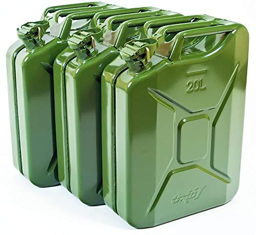 Oxid7 3x Bidón de Combustible Homologado de 20 Litros - Garrafa de Gasolina y Diésel en Metal con Aprobación de la ONU - Ideal para Viajes Largos; Uso de Cortacésped o Motosierra - Verde Oliva