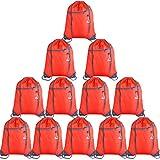 KUUQA 12Pcs Drawstring Backpack Bags with Zipper Pocket Sports Gym Cinch Sackpack String Tote Bag Bulk for Yoga Sport Gym Traveling