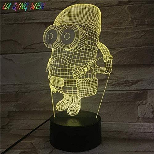 A-Generic 3D Illusión Lámpara LED Noche Luz Niños únicos Despicable ME 2 Minions para niños Dormitorio Decorativo Mejor cumpleaños para niños