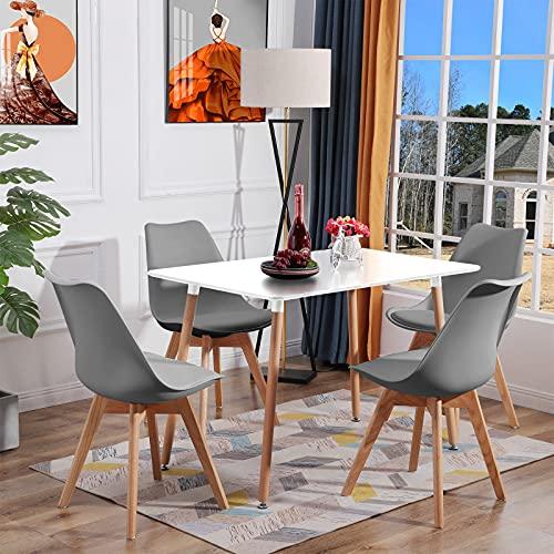 H.J WeDoo Esstisch Küchentisch Set, Rechteckig Esstisch mit 4 Eiche Esszimmerstühle Geeignet für Esszimmer Küche Wohnzimmer, Weiß Esstisch und Grau Stühle