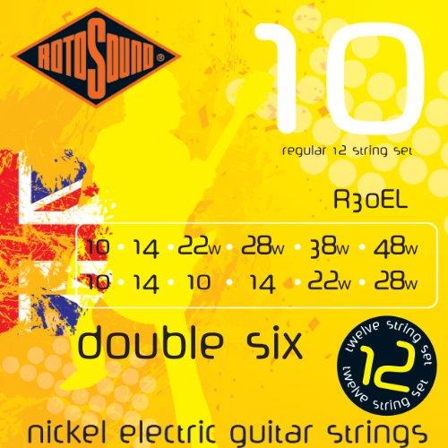 Rotosound nikkelsnaren voor 12-snarige elektrische gitaren, Regular, dikte 10-10, 14-14, 22-10, 28-14, 38-22, 48-28