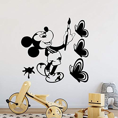 Etiqueta de mickey mouse Mickey Mouse toma un pincel para dibujar tres mariposas pintando Pvc Kids Room