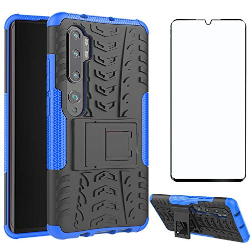 Phone Case for Xiaomi Mi Note 10/Note10Pro/CC9 Pro with Tempered Glass Screen Protector Cover and Stand Kickstand Hard Rugged Hybrid Cell Accessories Xiami Xiomis Xiome MiNote10 10Pro Cases Black Blue