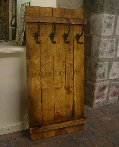 Unbekannt Shabby FRACHTKISTE WANDGARDEROBE Cacao PAYRAUD Holz Garderobe Vintage Retro GUSSEISEN (braun)