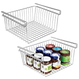 mDesign Household Metal Under Shelf Hanging Storage Organizer Bin Basket for Organizing Kitchen Pantry, Cabinets, Cupboards, Shelves - Vintage Modern Farmhouse Grid Style - Large, 2 Pack - Chrome