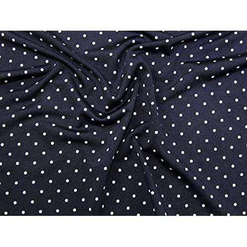 81a563223d5 Dotty Print Stretch Jersey Knit Dress Fabric Navy & White - per metre