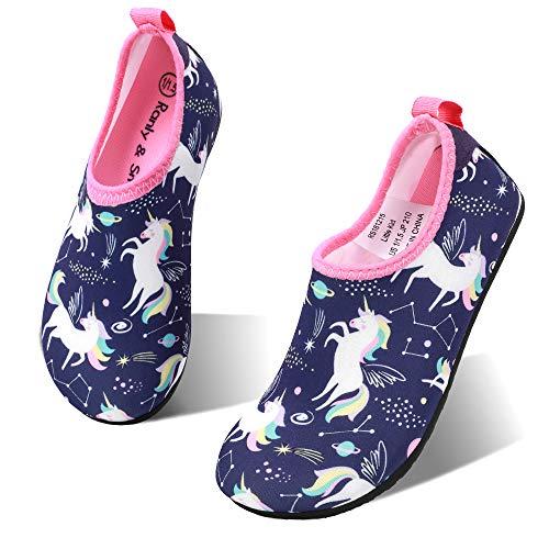 HIITAVE Girls Swim Water Shoes Non-Slip Quick Dry Barefoot Beach Aqua Pool Socks for Kids Toddler Pupple/Unicorn 3.5-4 M US Big Kid