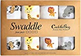 Muslin Baby Swaddle Blankets for Boys and Girls - by CuddleBug - Size Large 4 x 4 Feet – Muslin Cotton 4 Pack (Safari Friends)