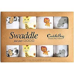 CuddleBug Mantas de Muselina Unisex – Paquete de 4 – Sabanas de Envolver, Paños de Algodon 100% Muselinas Infantil…
