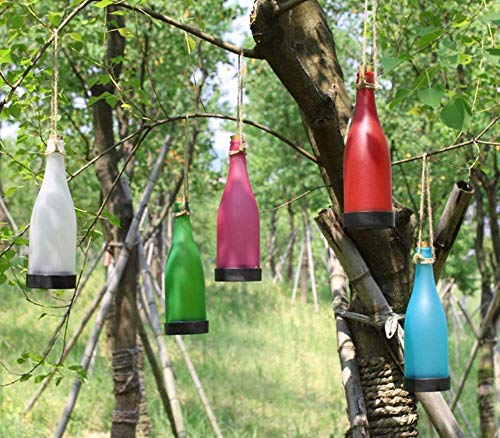 Pack de 5 luces solares para colgar botella de vino de plástico