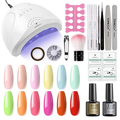 TOMICCA Gel Nail Polish Starter Kit with 48W UV Light, 12 pcs Spring Summer Colors Yellow Pink Nail...