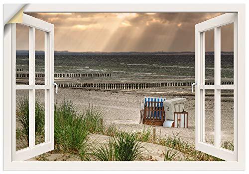 Artland Wandbild selbstklebend Vinylfolie 100x70 cm Wanddeko Wandtattoo Fensterblick Fenster Strand Meer Strandkorb Nordsee Maritim T6AM