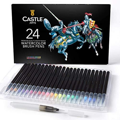 Castle Art bietet 24 Aquarellstifte mit einer weichen Nylonpinselspitze zum Färben, Kalligraphieren, Zeichnen und Schreiben - ungiftig - mit zusätzlichem Pinselstift
