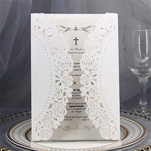 Dodom Rose Lace Einladungskarte Geschenkkarte Laser geschnittene Leere Kartenhalter Multi Farben, weiß, Laserschneidkarte