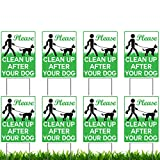 Vibe Ink 8 Pack of 9 x 12' Please Clean Up After Your Dog - No Pooping Dog Lawn Signs with 8X Metal Wire H-Stakes Stands Included