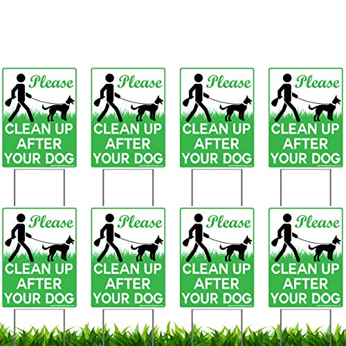 VIBE INK 8 Pack of 9 x 12quot Please Clean Up After Your Dog  No Pooping Dog Lawn Signs with 8X Metal Wire HStakes Stands Included