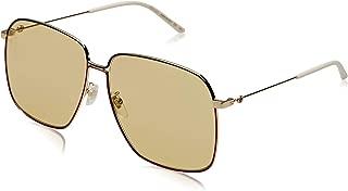 GUCCI GLASANT 0394 Gold Yellow Green Web Square Metal Retro Sunglasses GG0394S