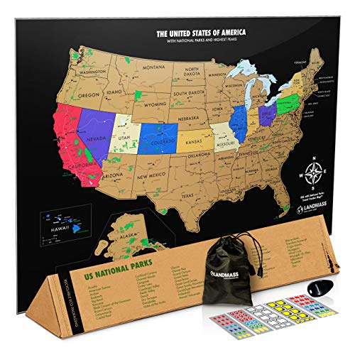 Landmass Scratch Off Map Of The United States - Black Scratch Off USA Map Poster - Travel Map - US...